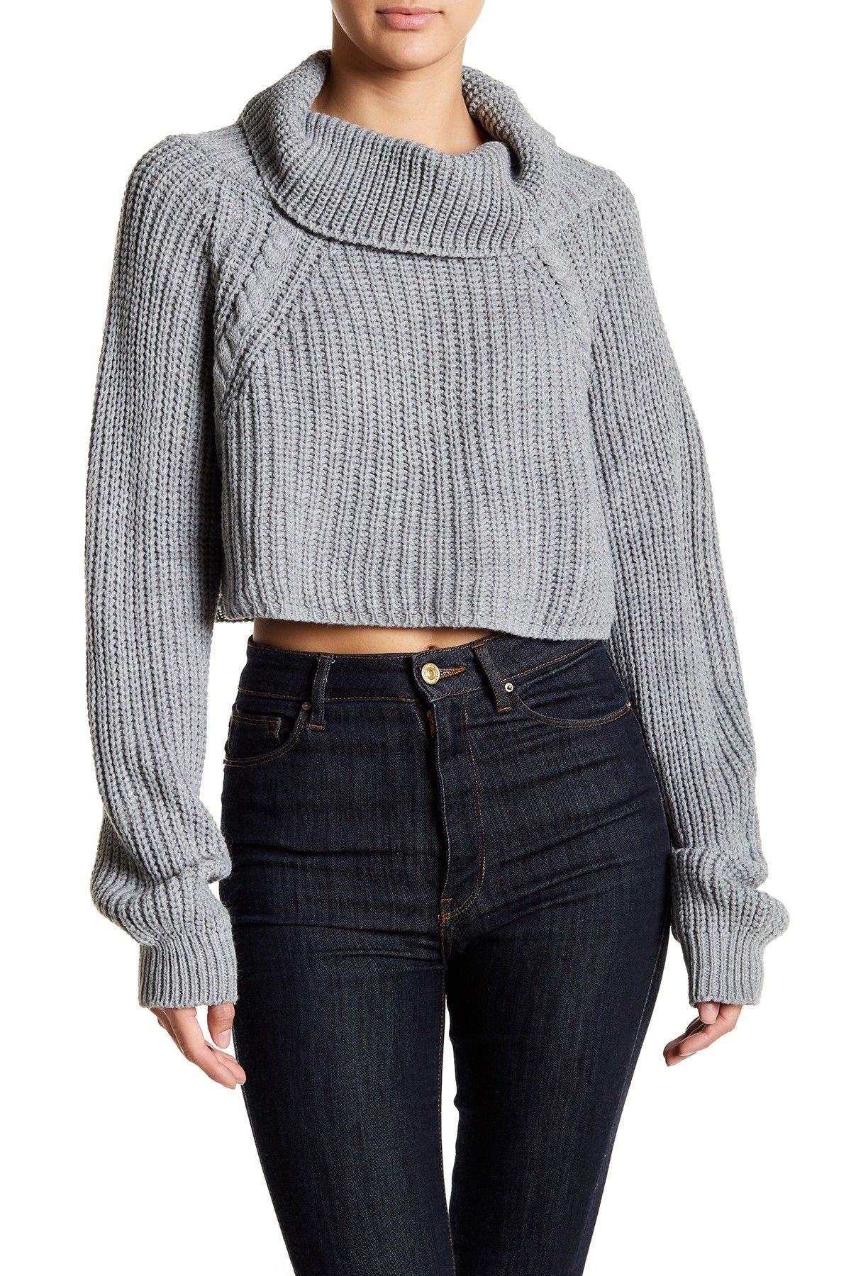 Abound | Cropped Chunky Knit Sweater | Cowl neck and Products