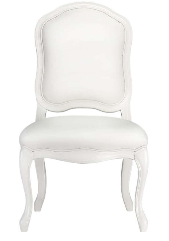 Love This CB2 White Lacquer And White Leather Chair   Very Chic