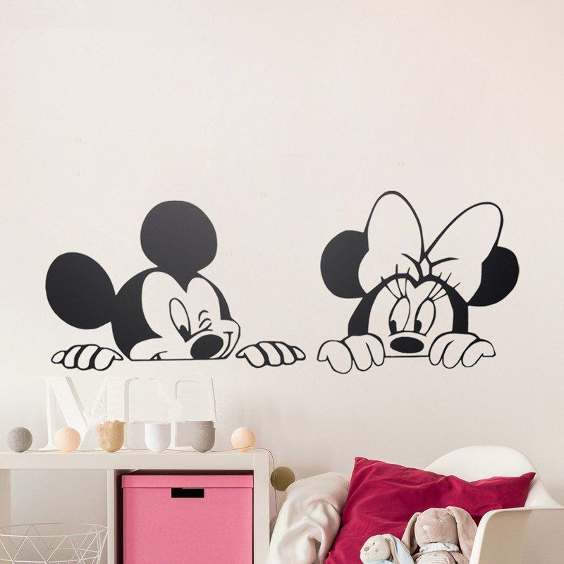 Cartoon Mickey Minnie Mouse Cute Animal Vinyl Wall Stickers Mural Wallpaper  Baby Room Decor Nursery Wall Decal Home Decor Part 94