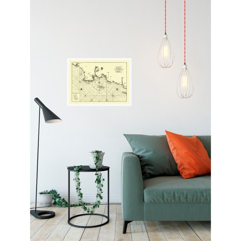 Home interior design maps antique nautical map of the coast of southern brittany  map