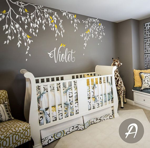 Nursery Tree Decal, Branches And Birds Decal, Vinyl Nursery Decal, White  Tree Sticker