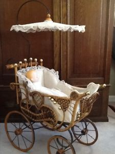 Antique Baby Buggy Value Victorian Ornate Wicker Doll Stroller Carriage
