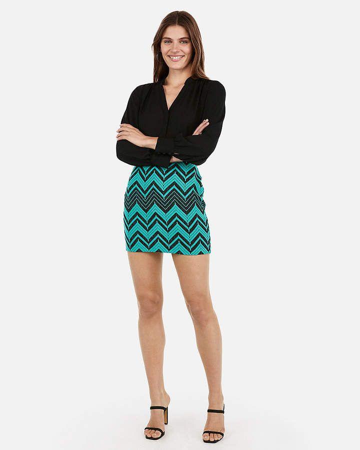 386ab511f Express Chevron Knit Mini Skirt in 2019   Products   Mini skirts ...