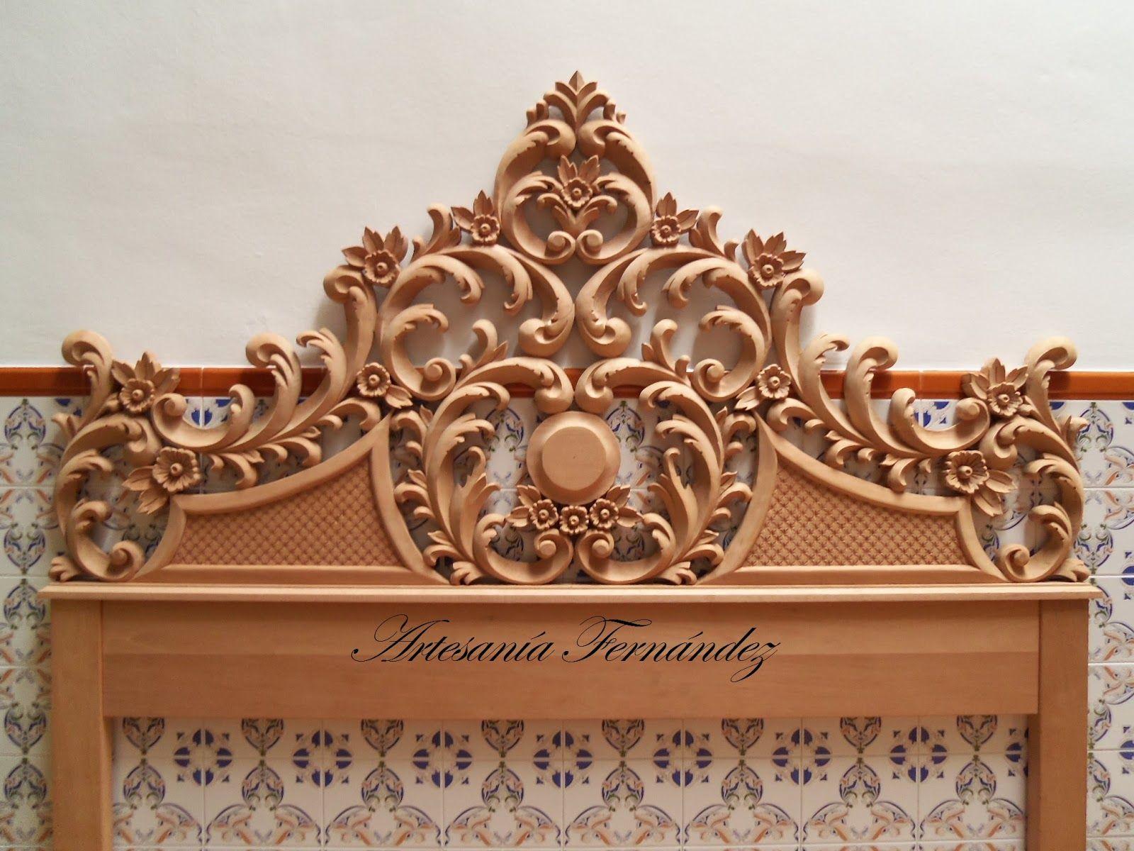 El cabecero esta tallado en madera de cedro real con unas dimensiones de 185 cm de ancho por - Cabecero madera tallada ...