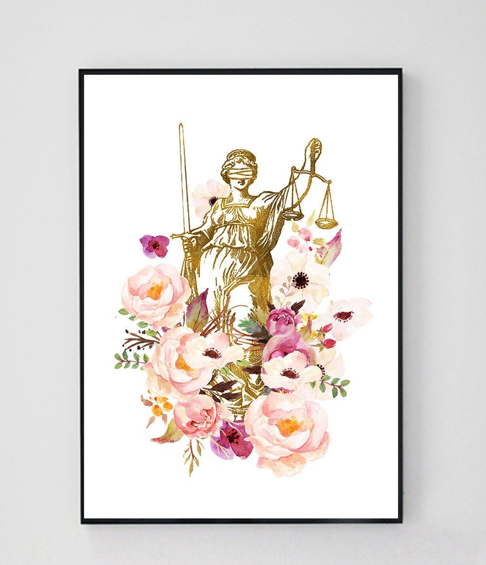 Scales Of Justice Art Watercolor Lawyer Art Lawyer Office Decor