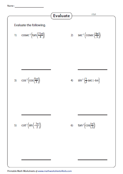 Evaluate Composition Of Inverse Trigonometric Functions