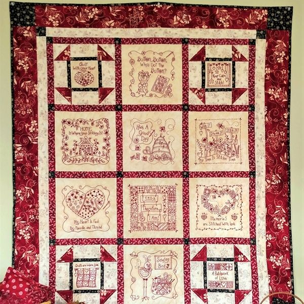 A Quilt filled with Stitchy things! Just the ticket for Embroidery lovers  to have for