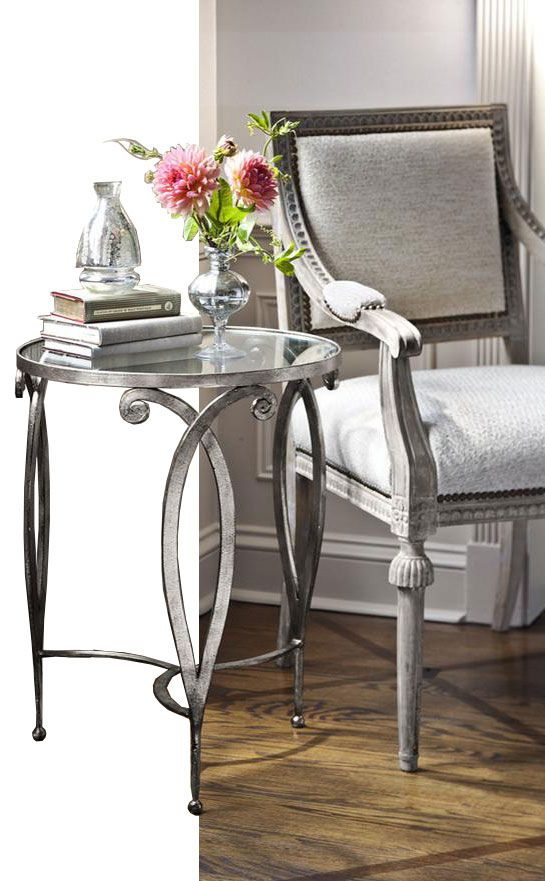Hand Wrought Iron Table With Scroll Design, Antique Silver Leaf Finish And  Glass Top