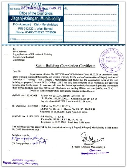 Building Completion Certificate sample pic Occupancy certificate – Work Completion Certificate Format