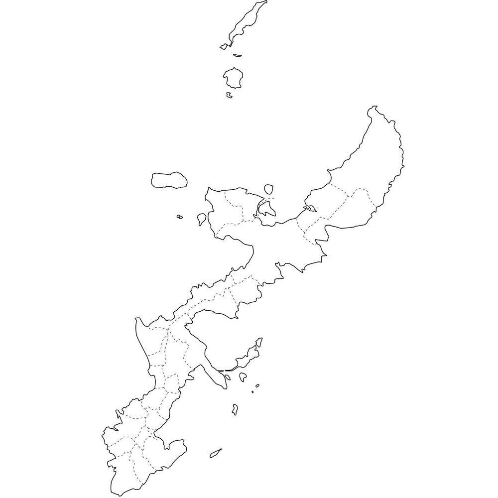 無料の日本地図イラスト集 沖縄県白地図市町村境も 沖縄県