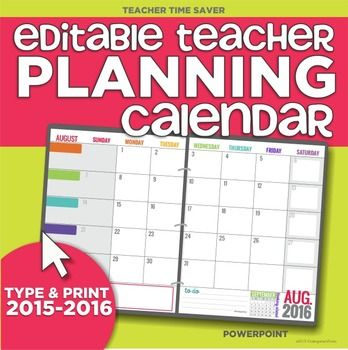 Teacher Calendar Template. Printable Teacher Planning Calendar ...