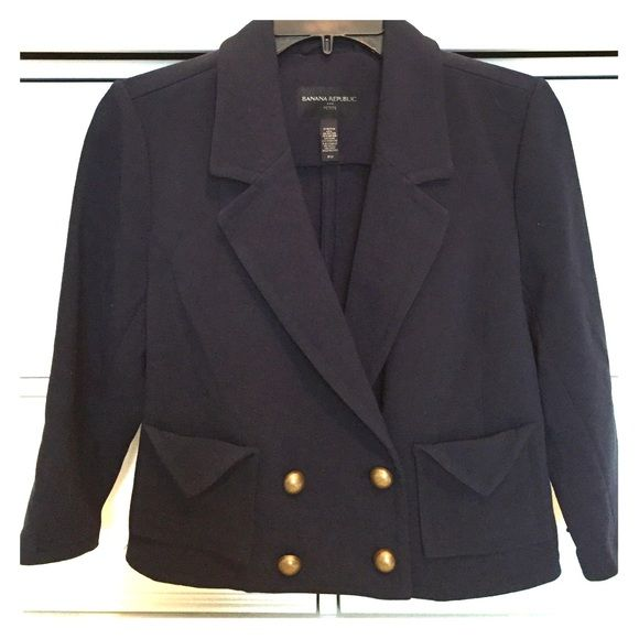 Super Nautical Crop Jacket This jacket is super cute and super nautical with its navy color and anchor color button accents. Banana Republic Jackets & Coats Blazers