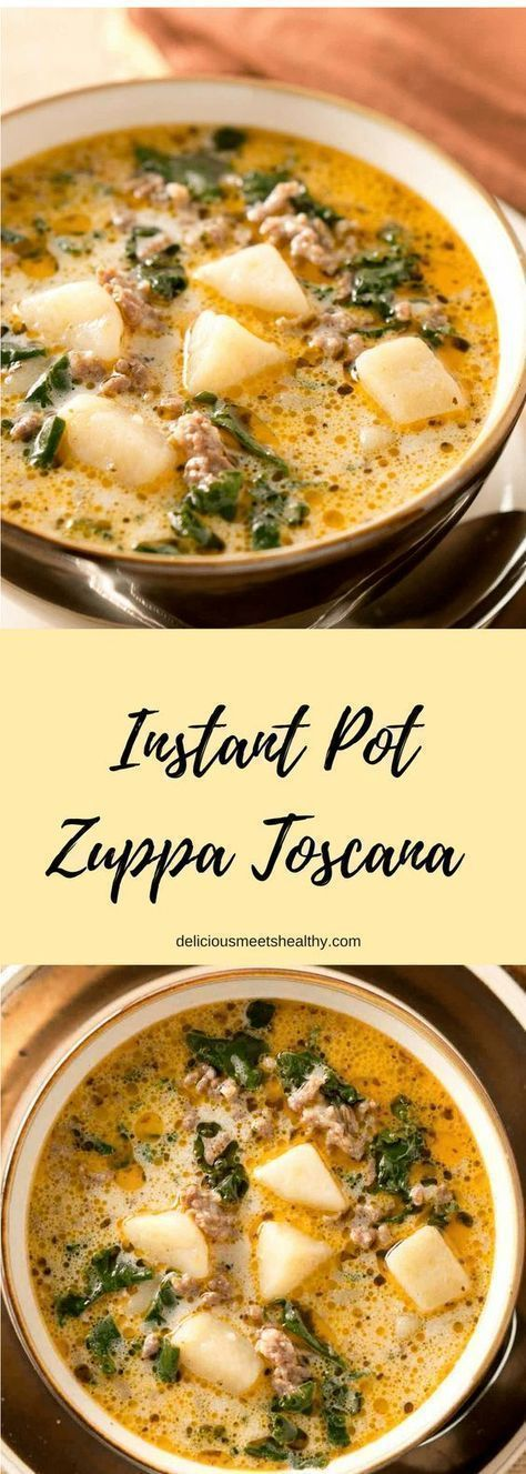 This rich and hearty Instant Pot Zuppa Toscana is comfort food at its best. It is truly satisfying and irresistible. Crab Stuffed Mushrooms. These stuffed mushrooms are a piece of food heaven with a perfect combination of cream cheese, herbs, crab meat, and grated Parmesan cheese. #crab #seafood #appetizer #comfort #Food #hearty #INSTANT #POT #rich #Toscana #Zuppa