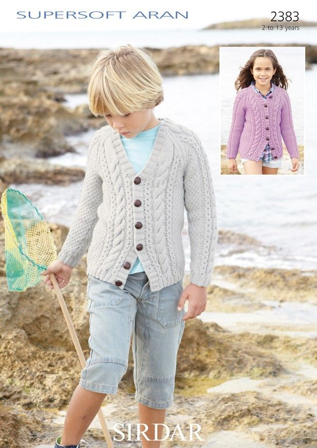 Cardigans In Sirdar Supersoft Aran 2383 Girls Knitting Patterns