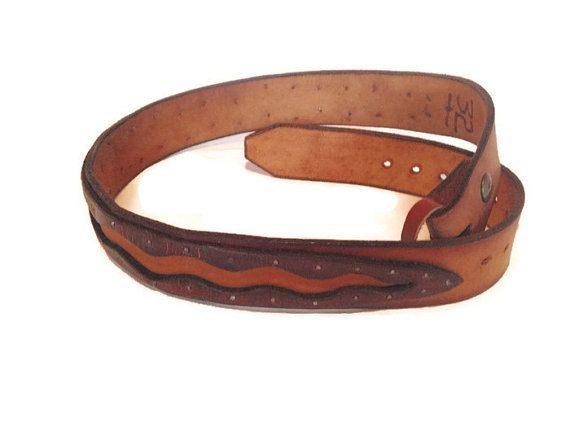 Vintage Men's Leather Belt Layered Leather Rocker by ModernDuds