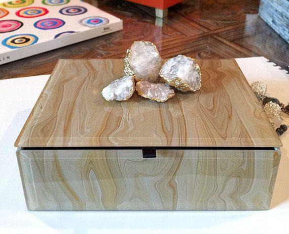 Decorative Keepsake Box Geode Crystal Decorative Box Keepsake Box Marbled Box Gold