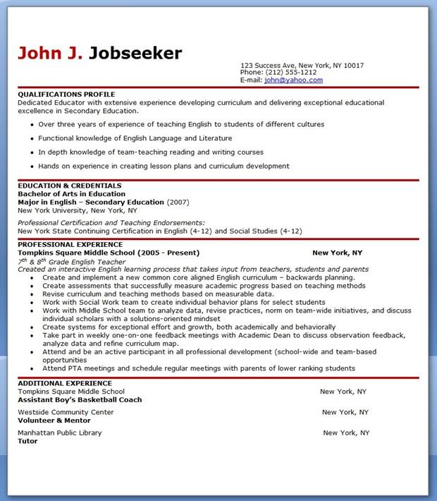 English Teacher Resume Sample in 2020 Teacher resume