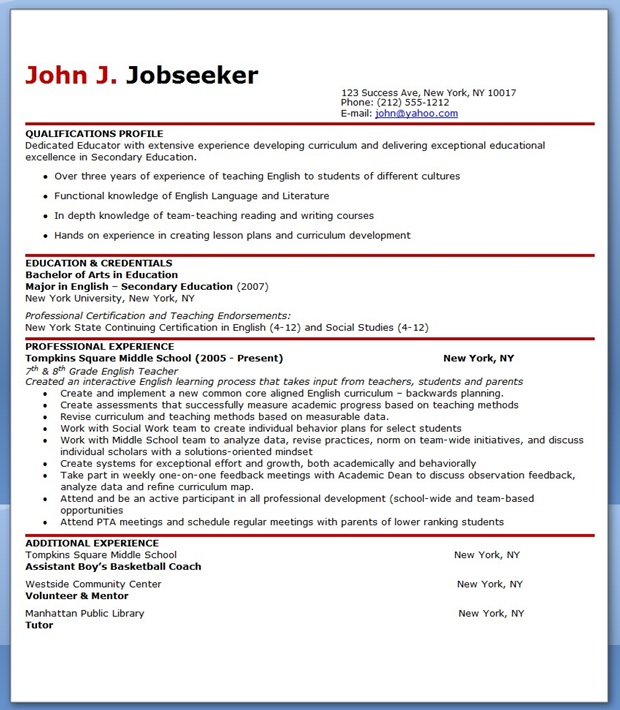 English Teacher Resume Sample Resume Downloads