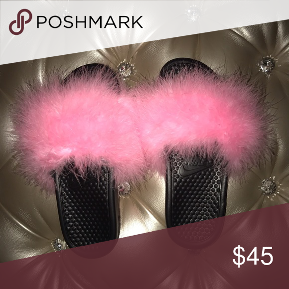 2697c8c5f23 Fluffy Nike Slides Size 7 AUTHENTIC black Nike slides with fluffy candy pink  BOA. Available to ship next day!! Nike Shoes Slippers