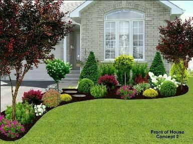 Front Garden Landscaping Idea/inspiration For Front Yard In Front Of Big  Window With The Rocks Part 79