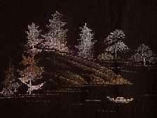 Japanese Vintage Kimono, HAORI, SILK, Black, Landscape Y121030