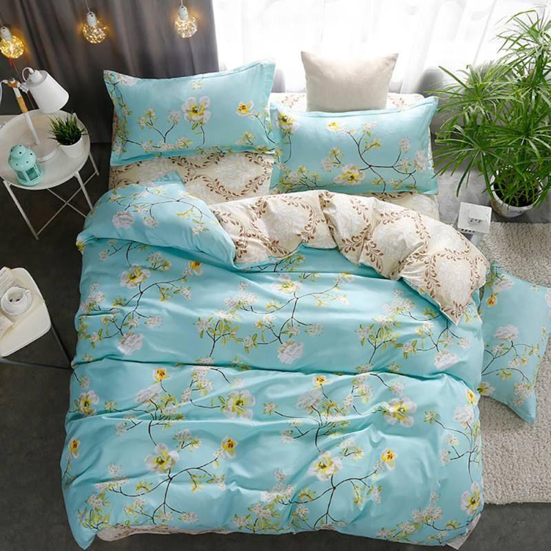 Printed Polyester Fiber Bed Sheet 3 Pcs Bedding Sets 16