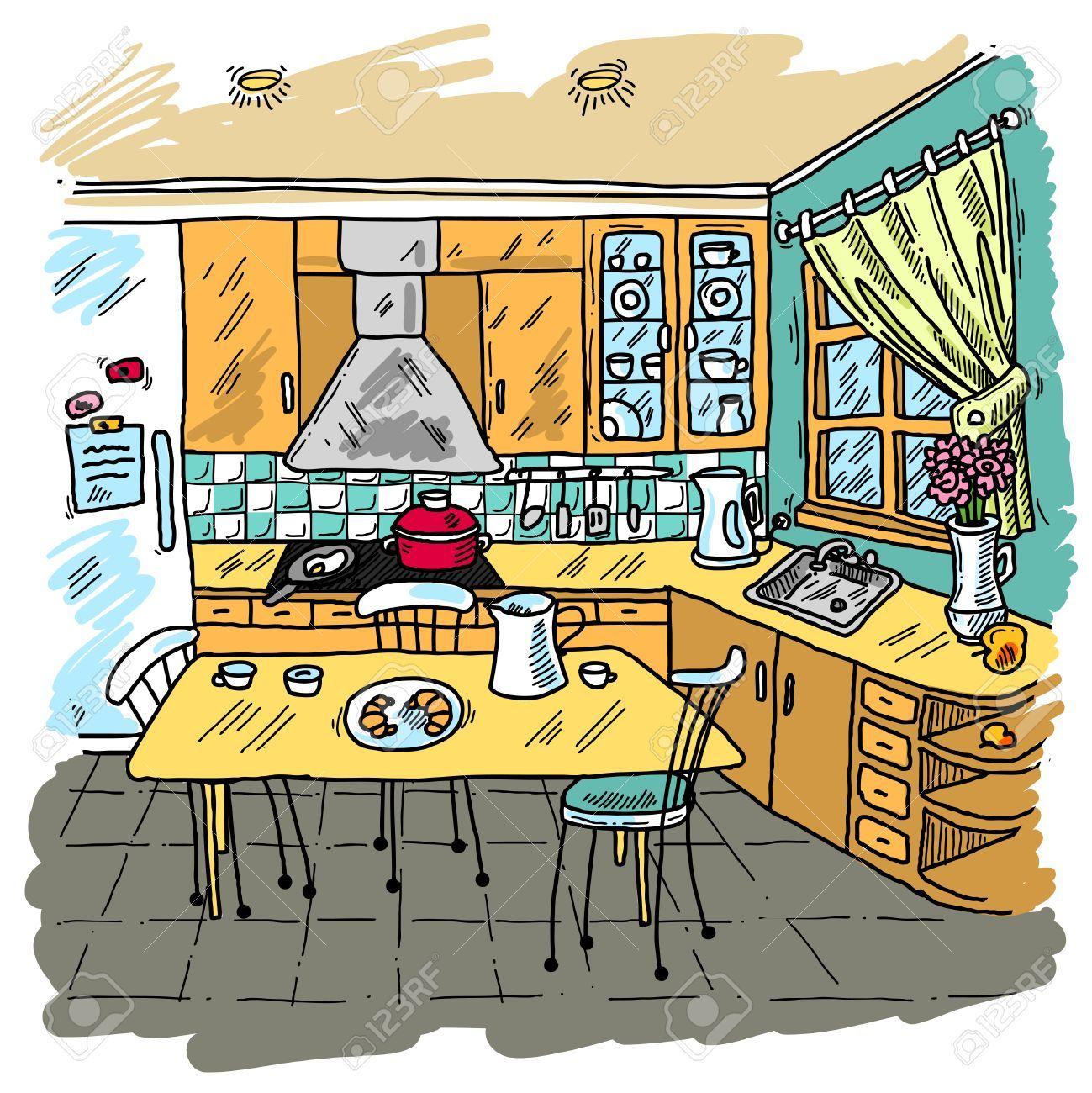 35957924 cocina de color de fondo decorativo dibujo con for Dibujos de cocina