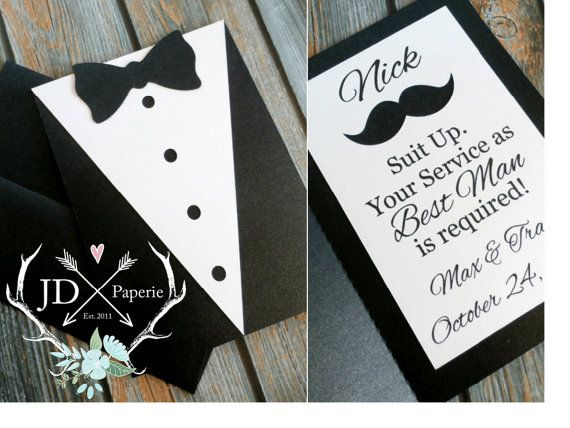Asking For Gifts On Wedding Invitations: SUIT UP. YOUR SERVICE AS GROOMSMAN IS REQUIRED! This 5x7