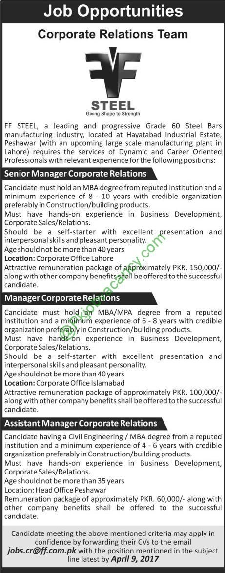 Ff Steel Jobs  Available For Manager  Jobs In Pakistan