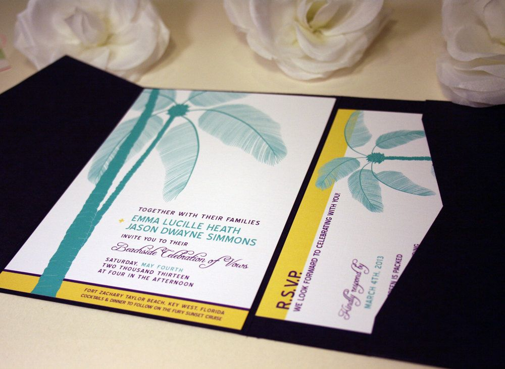 beach wedding invitation examples%0A SAMPLE Palm Tree Pocketfold Wedding Invitations  by vohandmade