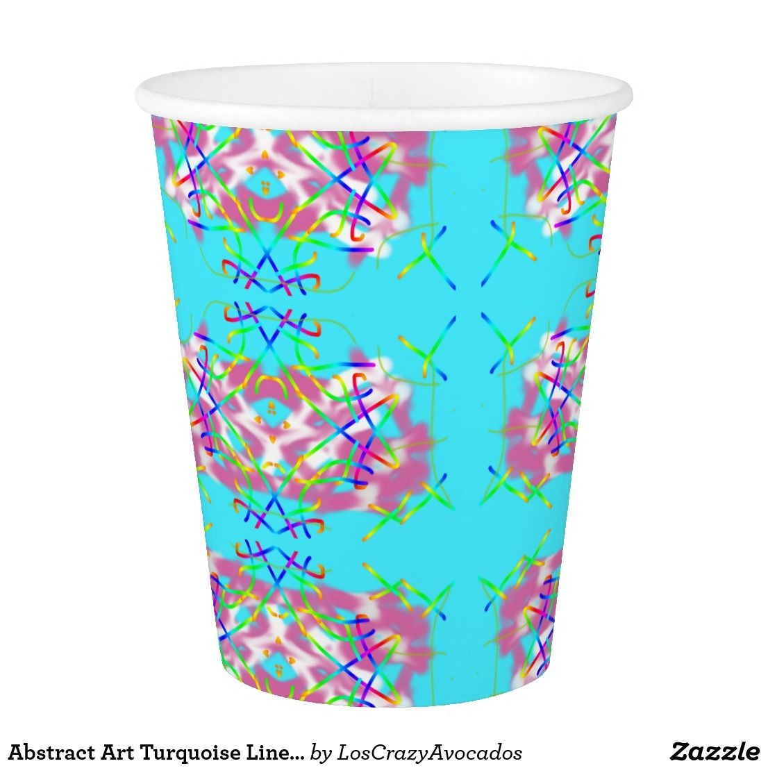 Lines Paper Abstract Art Turquoise Lines Paper Cup