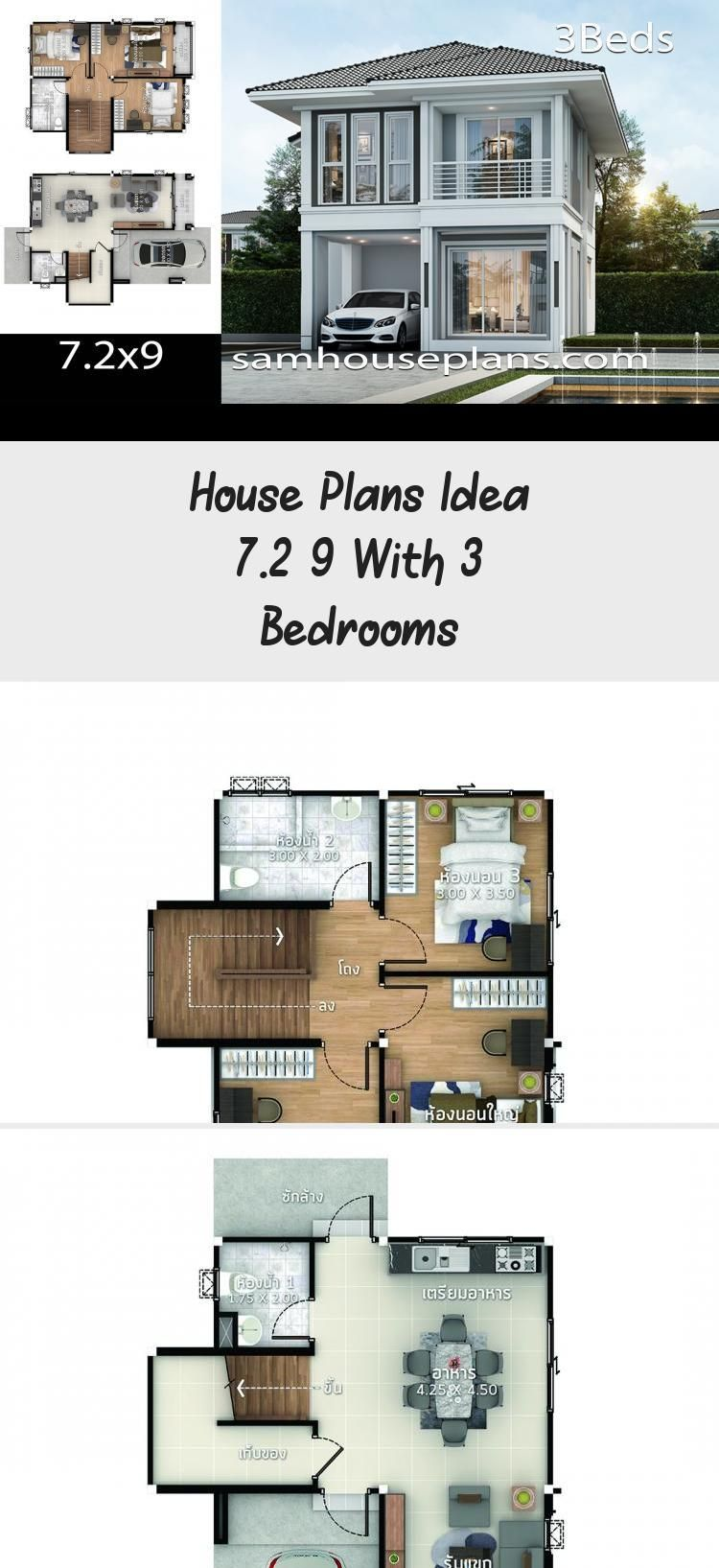 House Plans Idea 7 2x9 With 3 Bedrooms Sam House Plans Narrowmodernhouseplans Modernhou In 2020 House Plans Mid Century Modern House Plans House Plans South Africa