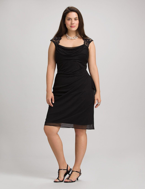 plus size | dresses | faux wrap lace top dress | dressbarn