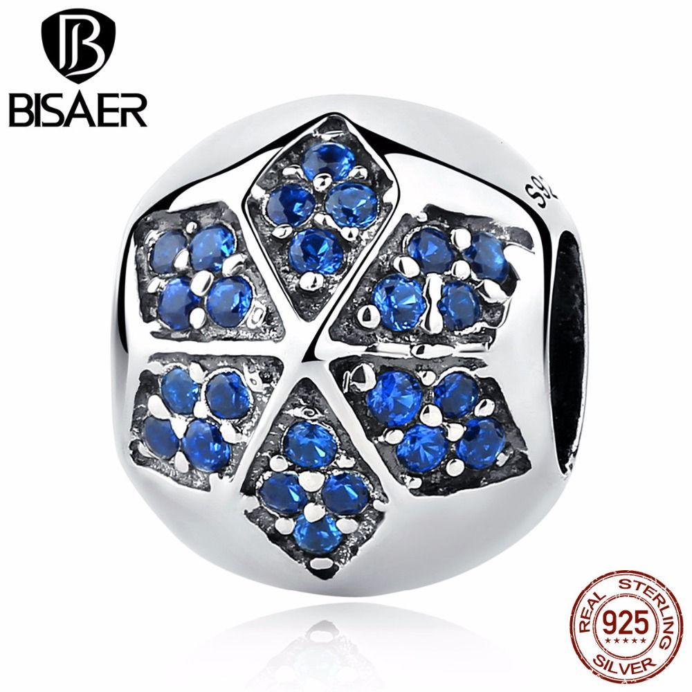 sterling silver blue crystals flower round bead charms fit