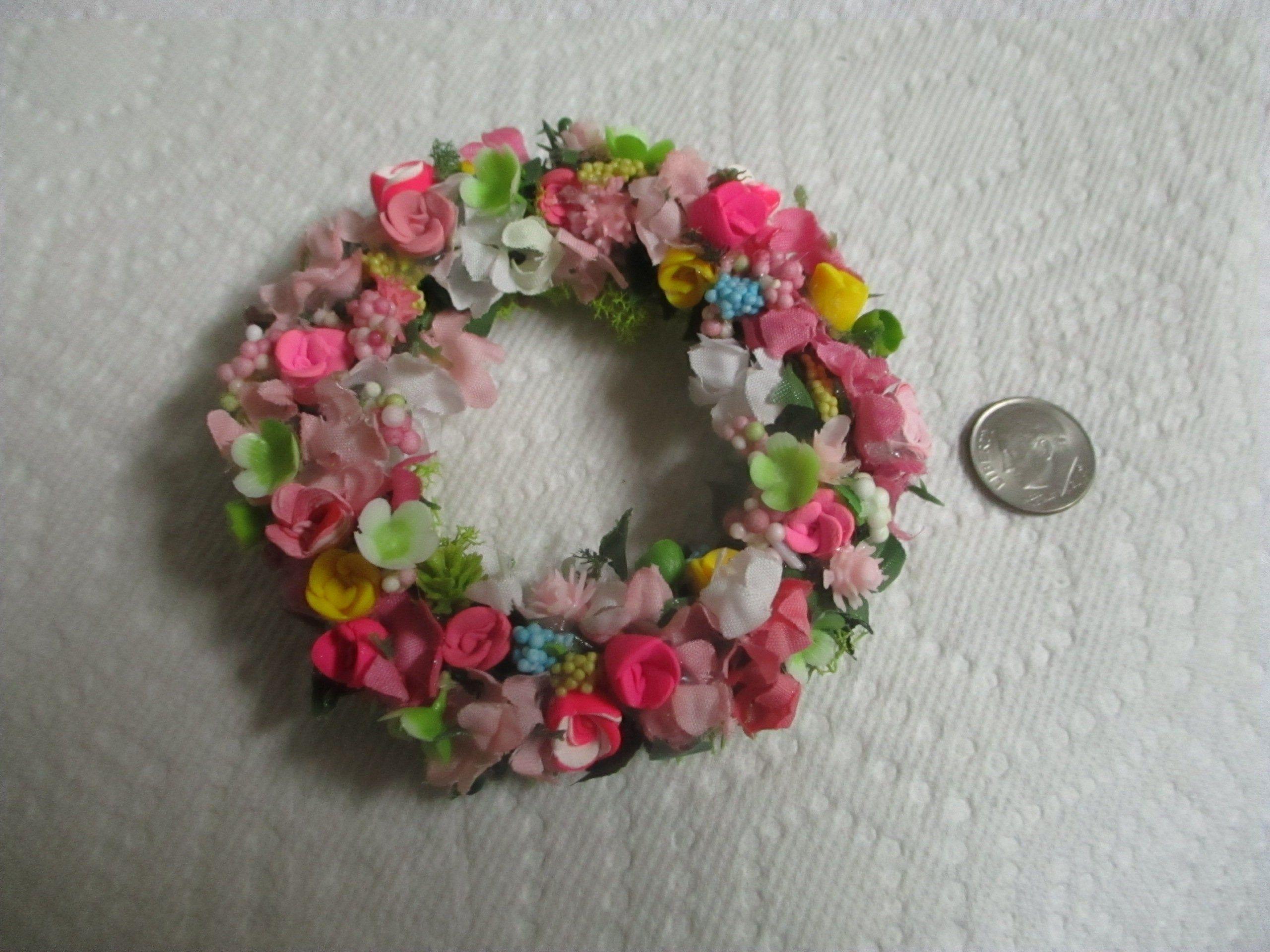"Miniature Doll//dollhouse 2/"" HEART//Polymer Rose Wreath"