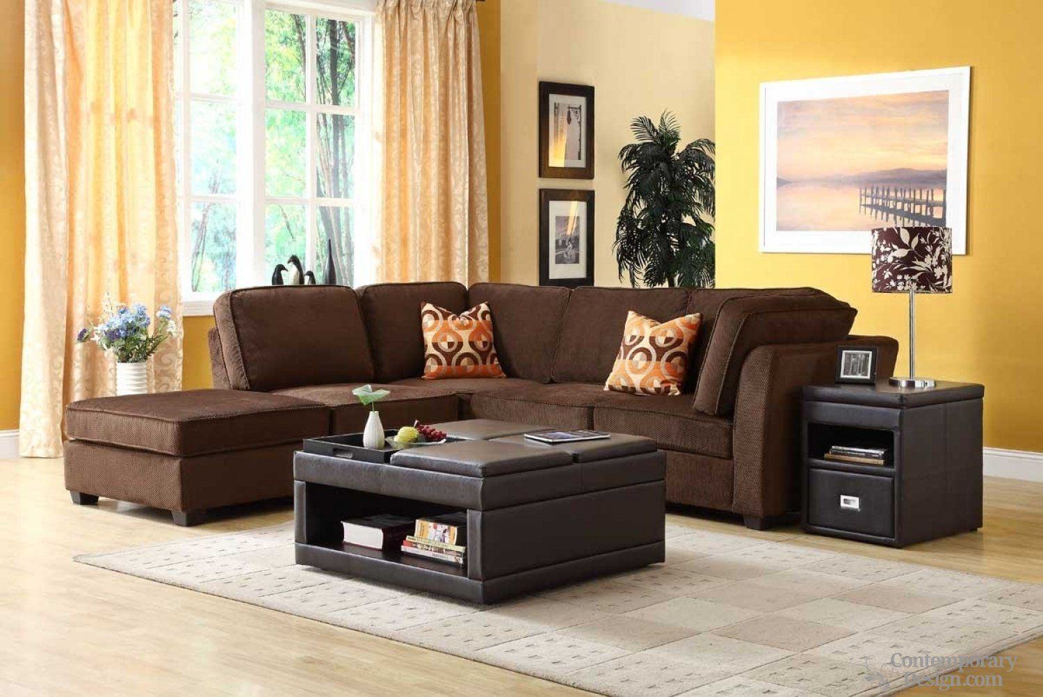 living room paint color ideas with brown furniture with