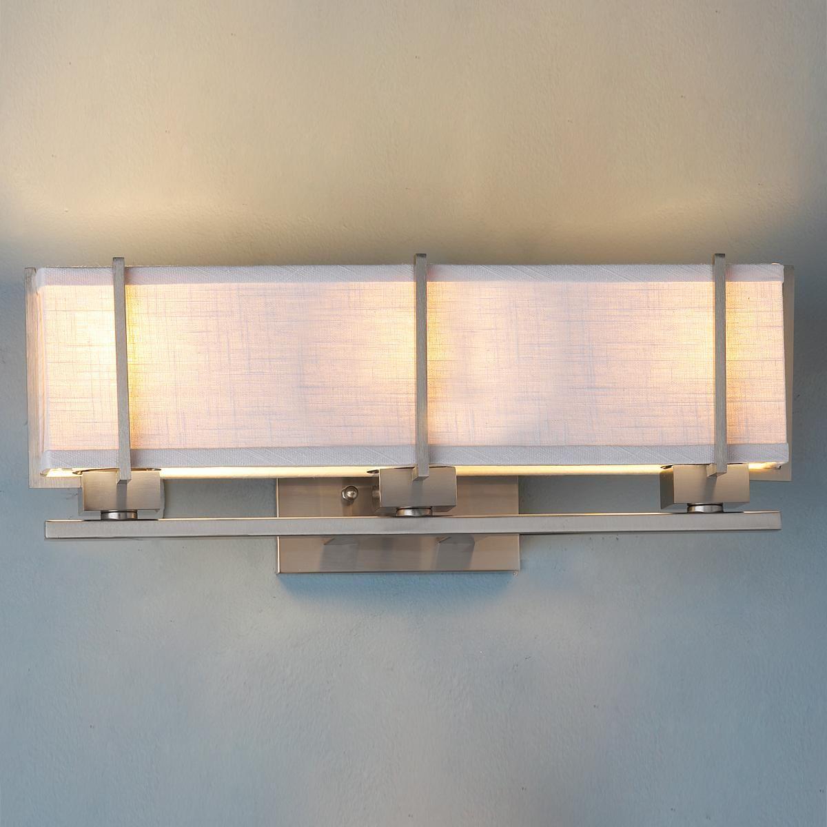 13 Dreamy Bathroom Lighting Ideas: Energy Star Linen Box Shade Bath Vanity Light Brushed