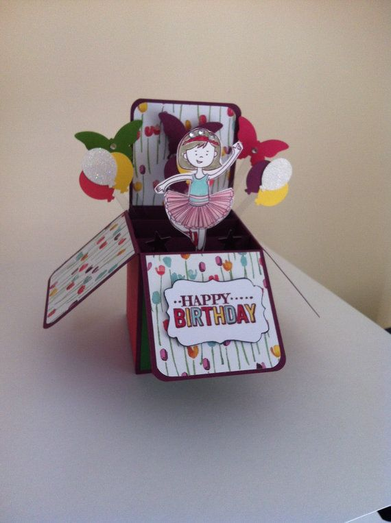 Handmade Happy Birthday Card In A Box Cute Girl Card Princess Card Ballerina 3d Card Boxed Birthday Cards Birthday Cards Handmade Birthday Cards