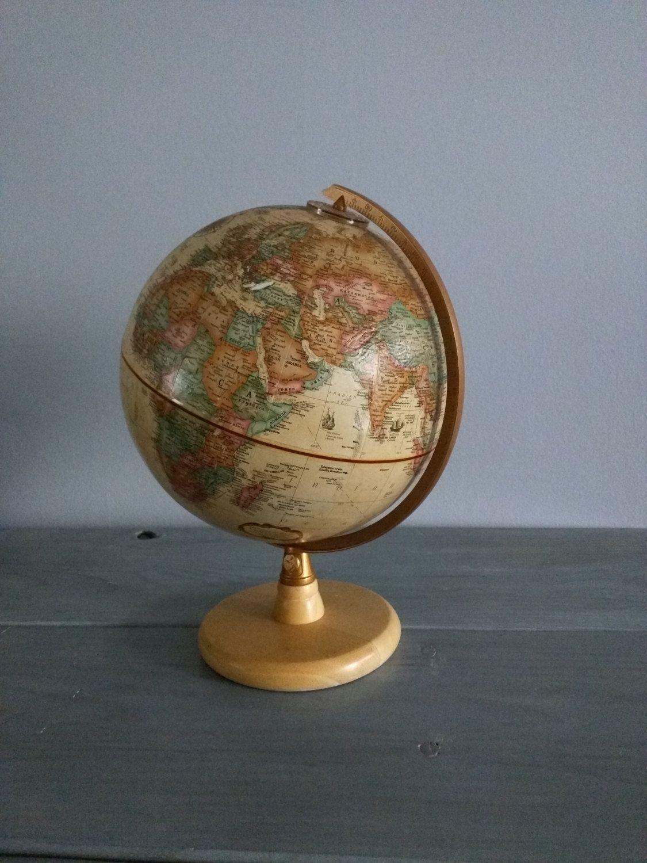 World Globe Vintage Globe Mid Century desk globe Tan Wood Stand Replogle  Globe Raised Relief World - World Globe Vintage Globe Mid Century Desk Globe Tan Wood Stand