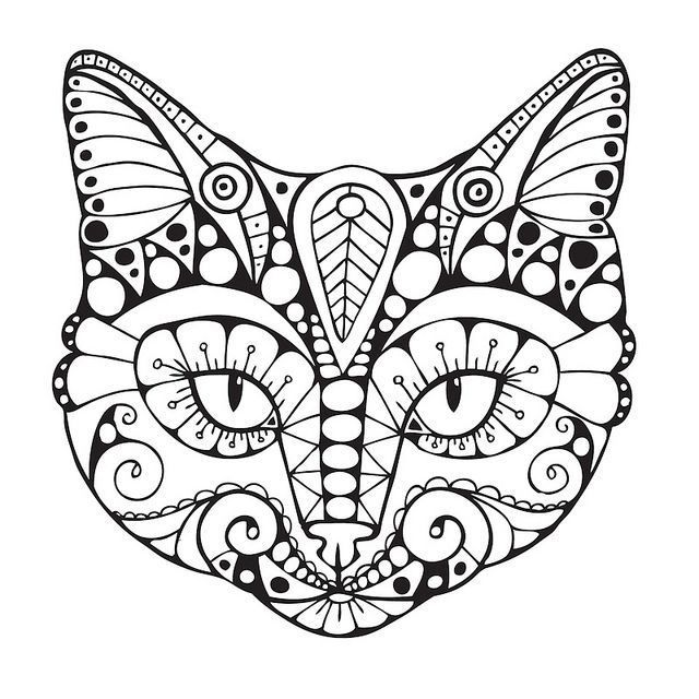 Download Cat Coloring Pages for Adults http://procoloring.com/cat-coloring-pages-for-adults/