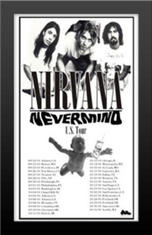 LESS THAN $28 EACH! Wood FRAMED Nirvana Kurt Cobain Wholesale Poster ...