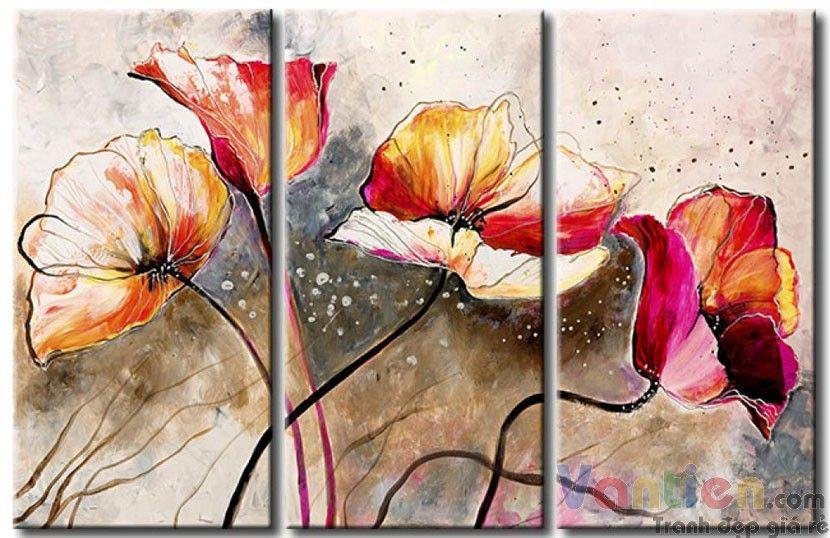 Poppy Khoe Sắc M0882 là tranh sơn dầu hoa Poppy bộ 3 tấm chất lượng cao, tranh thích hợp với phòng khách, cầu thang... giao hàng tận nơi miễn phí