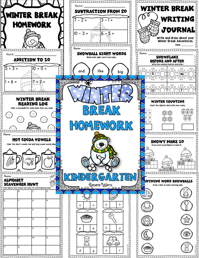 Winter Break Packet Kindergarten | Winter breaks, Homework and ...