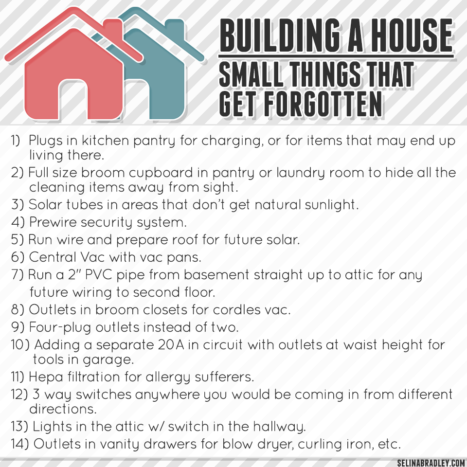 Building a house: Small things that get forgotten
