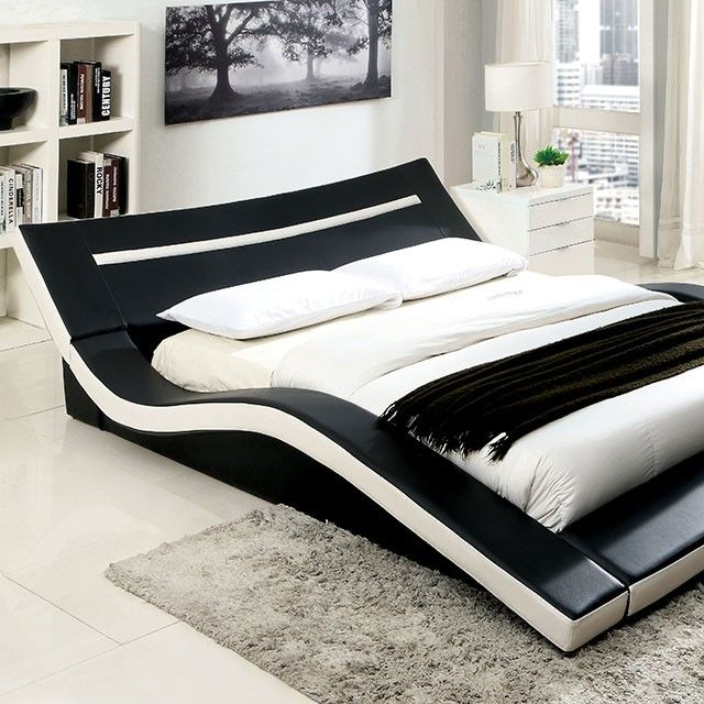 sku cm7125 contemporary modern curved and padded platform bed arched low profile style - Low Profile King Bed Frame