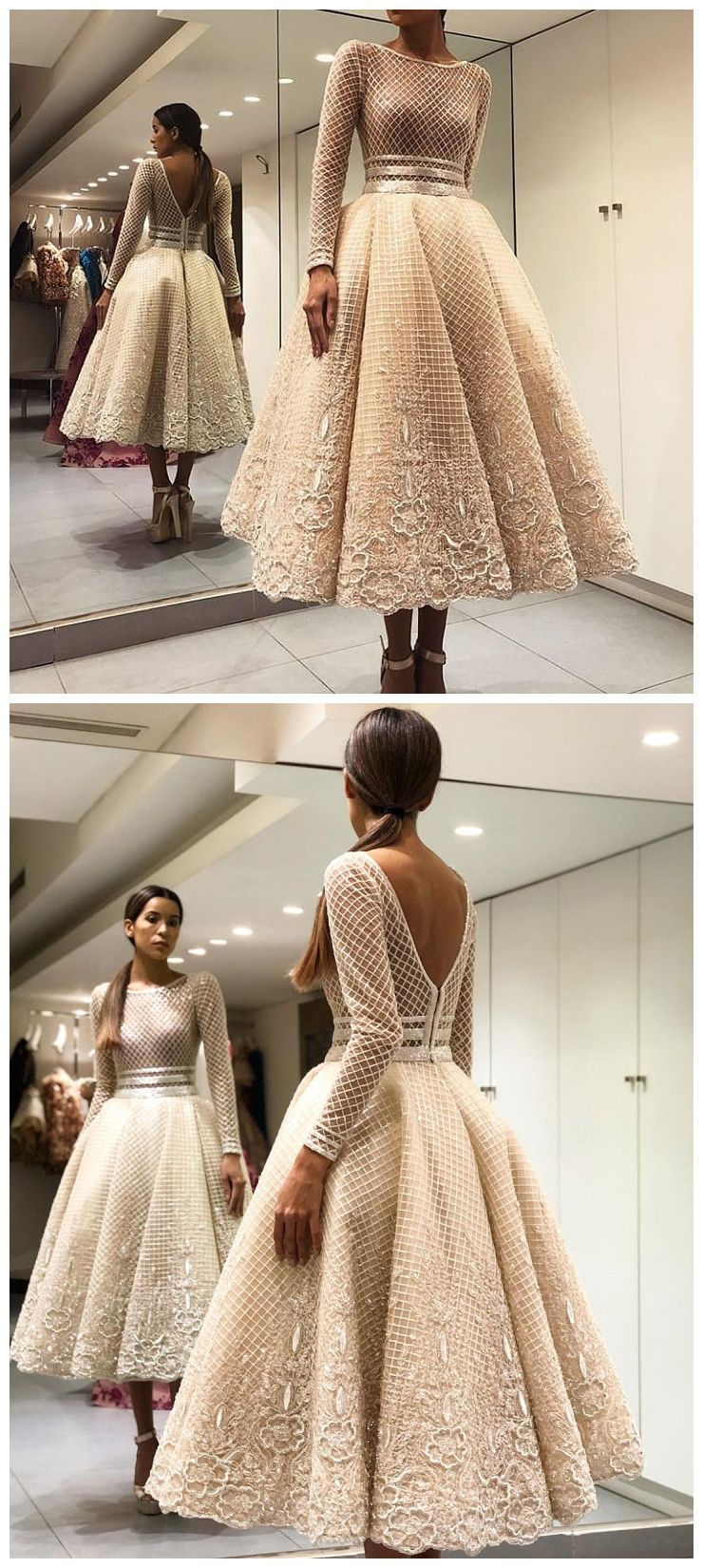 Scoop long sleeve prom dress tea length lace prom dresses