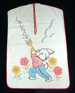Vintage 1940's Hand Embroidered 100 Cotton Muslin Laundry Bag   eBay