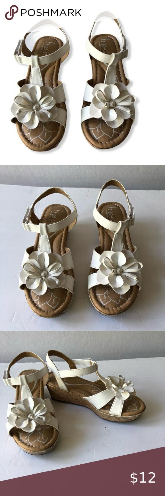 BOC Girls White Flower Sandals. Size 2