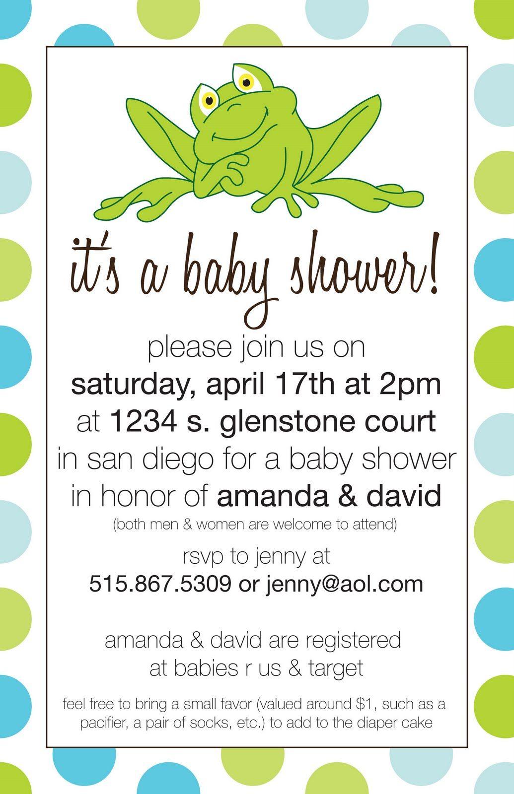 LindyLou Design: Frog Baby Shower Invitation www.lindyloudesign.com ...