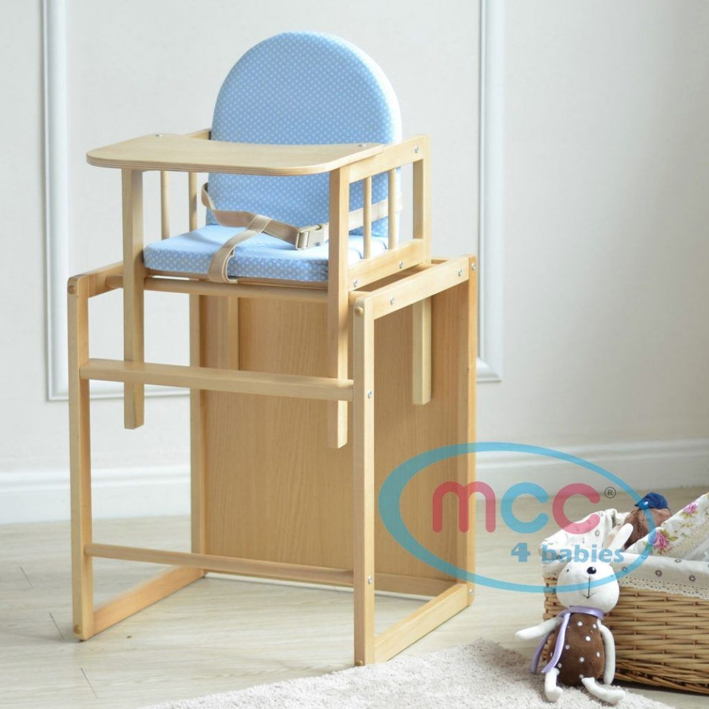 Wooden High Chair Turns Into Table